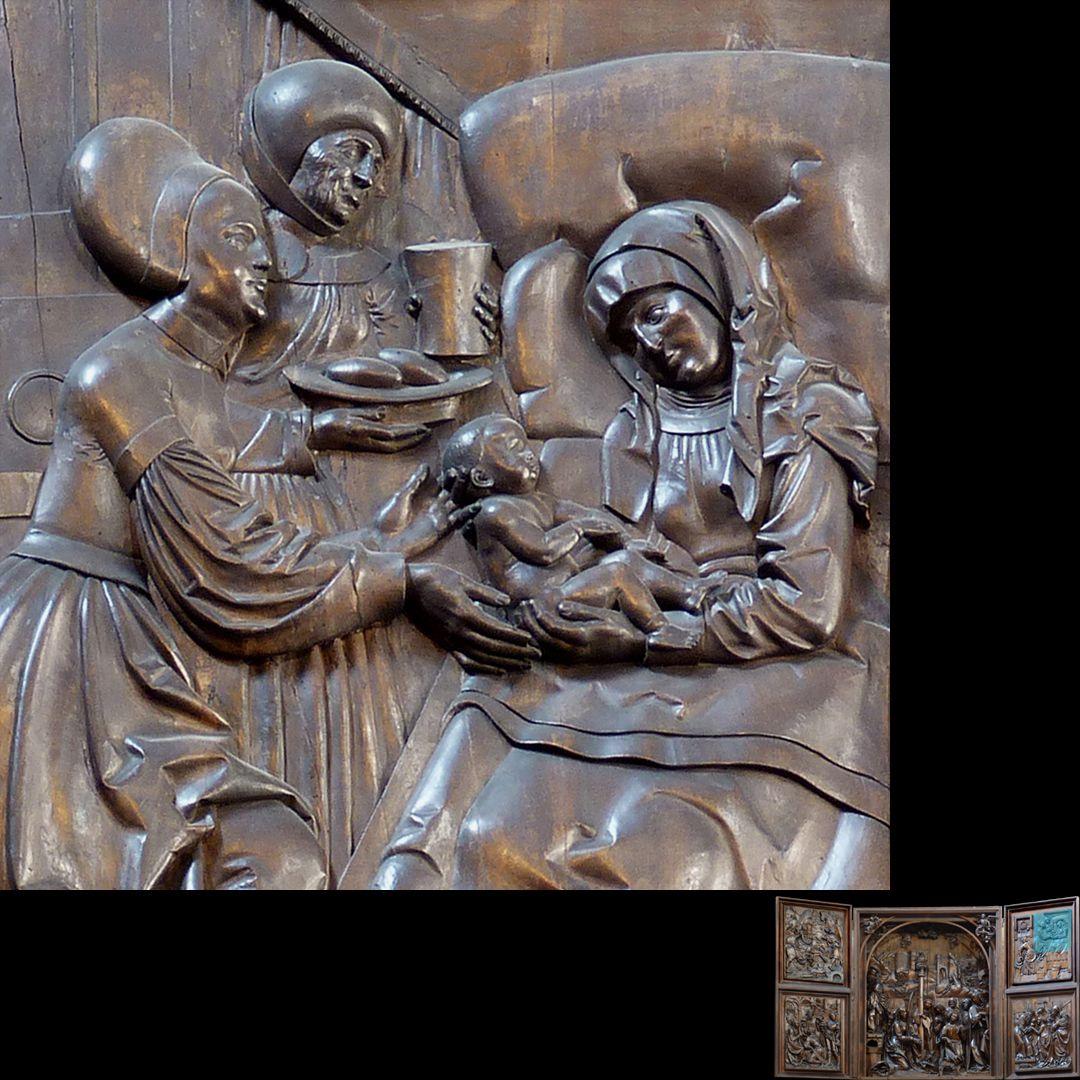 Marien-Altar rechter Flügel oben mit Relief der Geburt Mariä, Detail