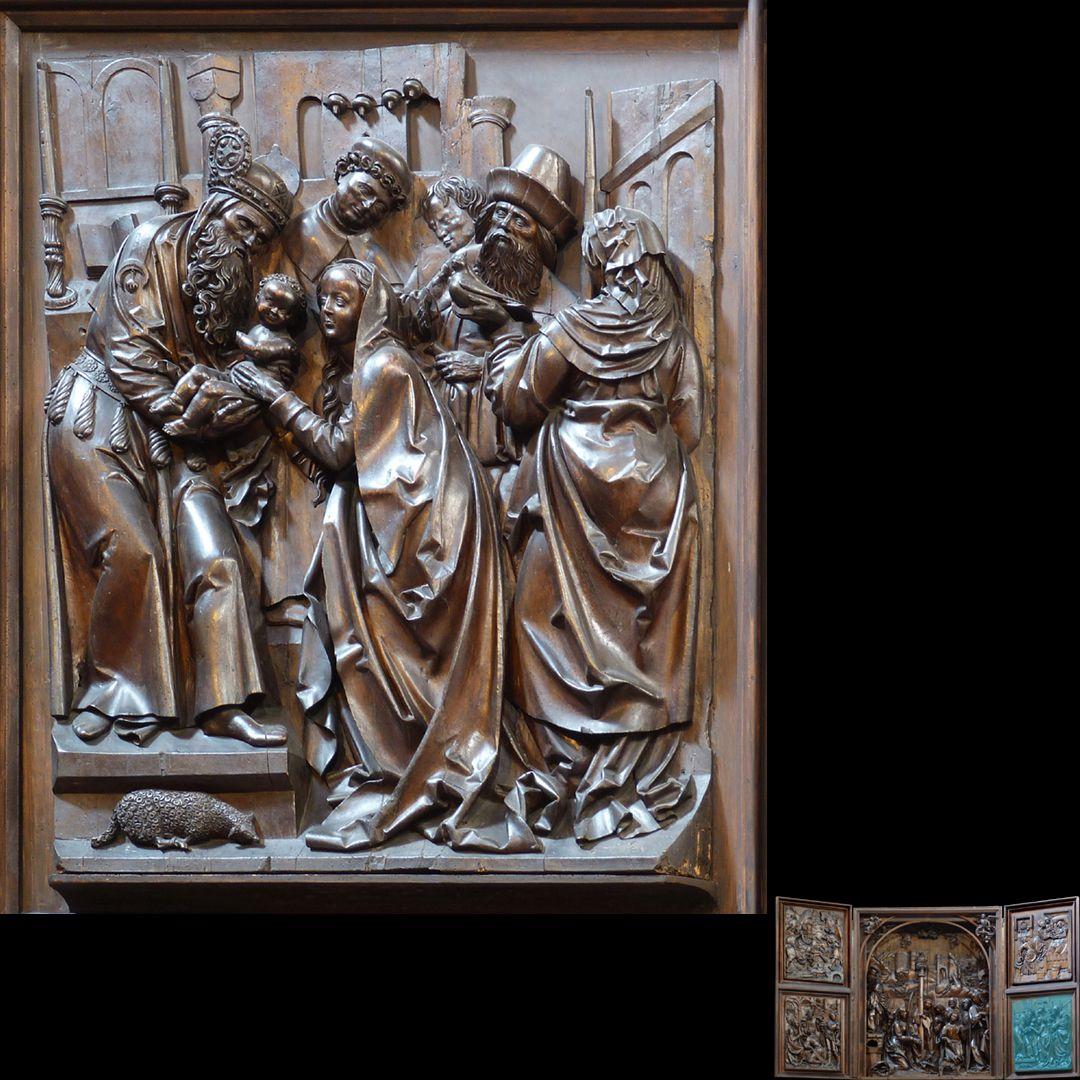 Marien-Altar rechter Flügel unten mit Relief der Darbringung im Tempel