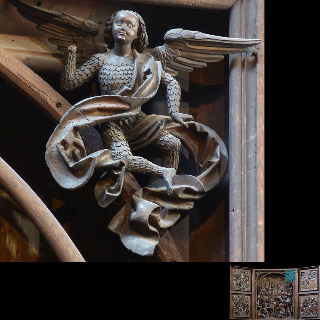 Marien-Altar Schrein, oberer rechter Zwickel, fliegender Engel