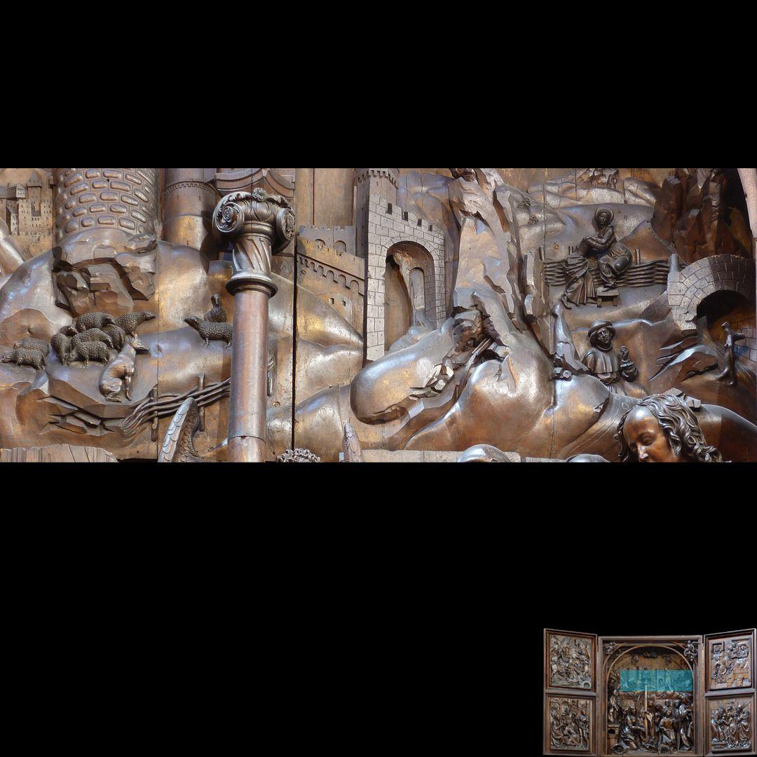 Marien-Altar Schrein, Landschaftsdarstellung des Schreinhintergrundes