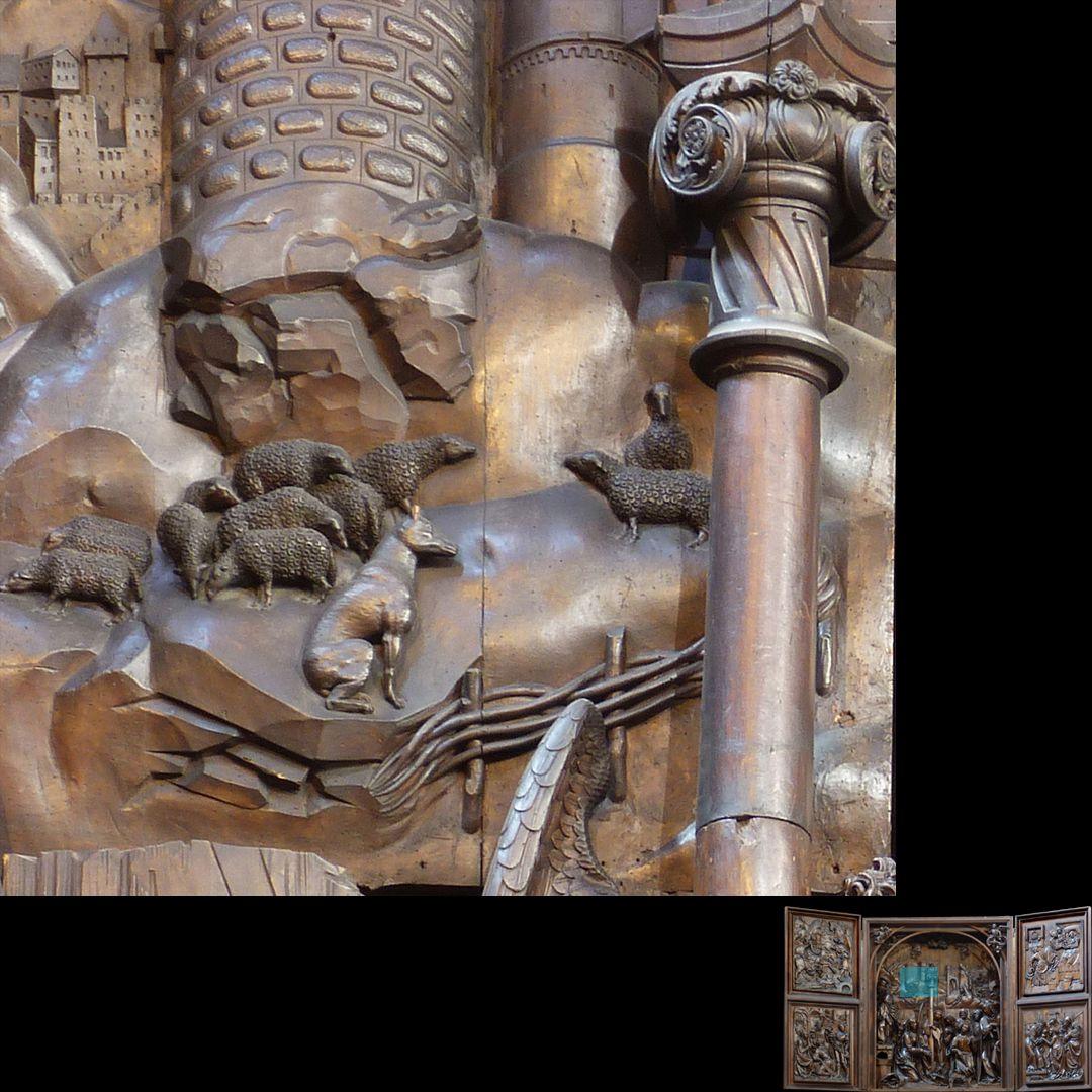 Marien-Altar Schrein, Landschaftsdarstellung, rechts Säulenkapitell