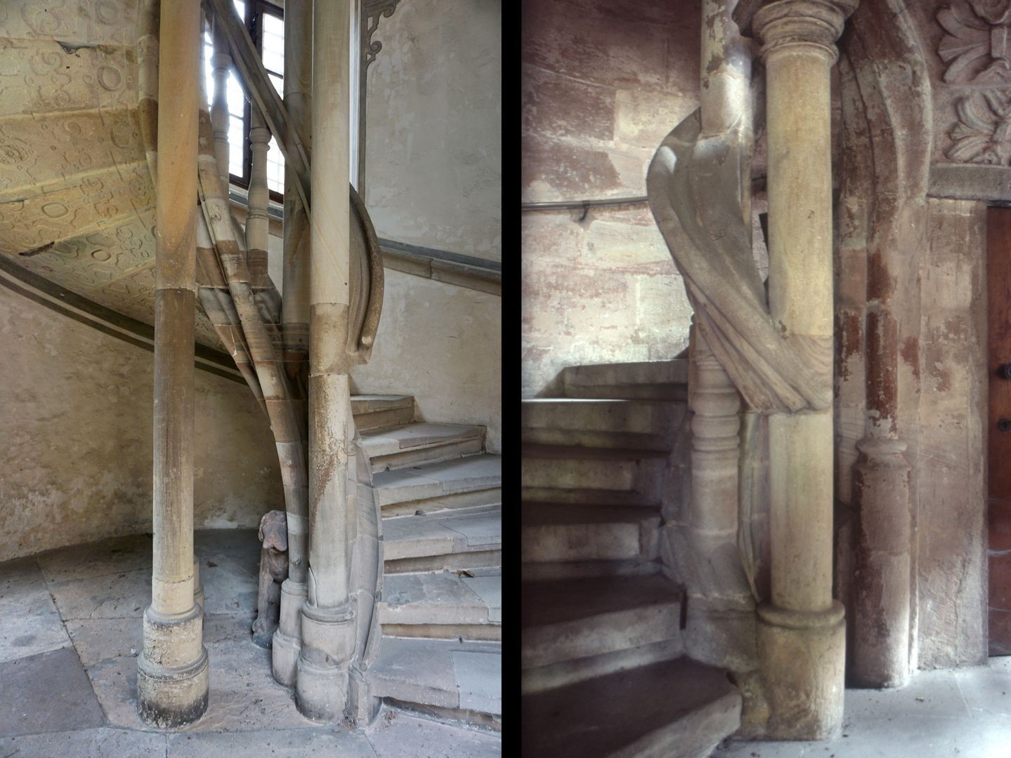 Treppentyp / Pellerhaus links Straßburg, rechts Nürnberg: Treppenaufgang im Vergleich, Straßburg linkswendig, Nürnberg rechtswendig