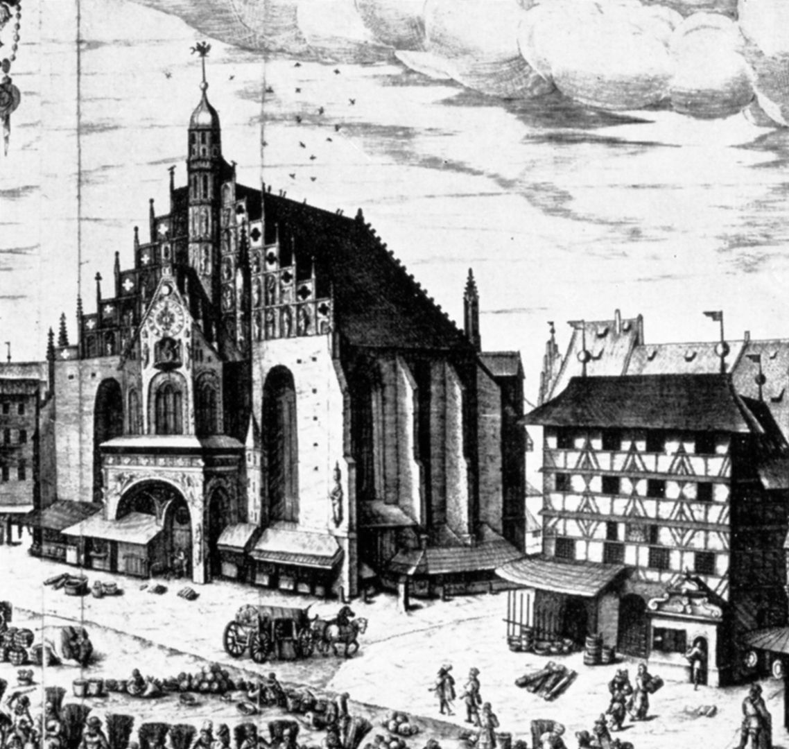 Graphic print of the main market (Hauptmarkt) Detail Our Lady´s Church (Frauenkirche) and furrier´s house