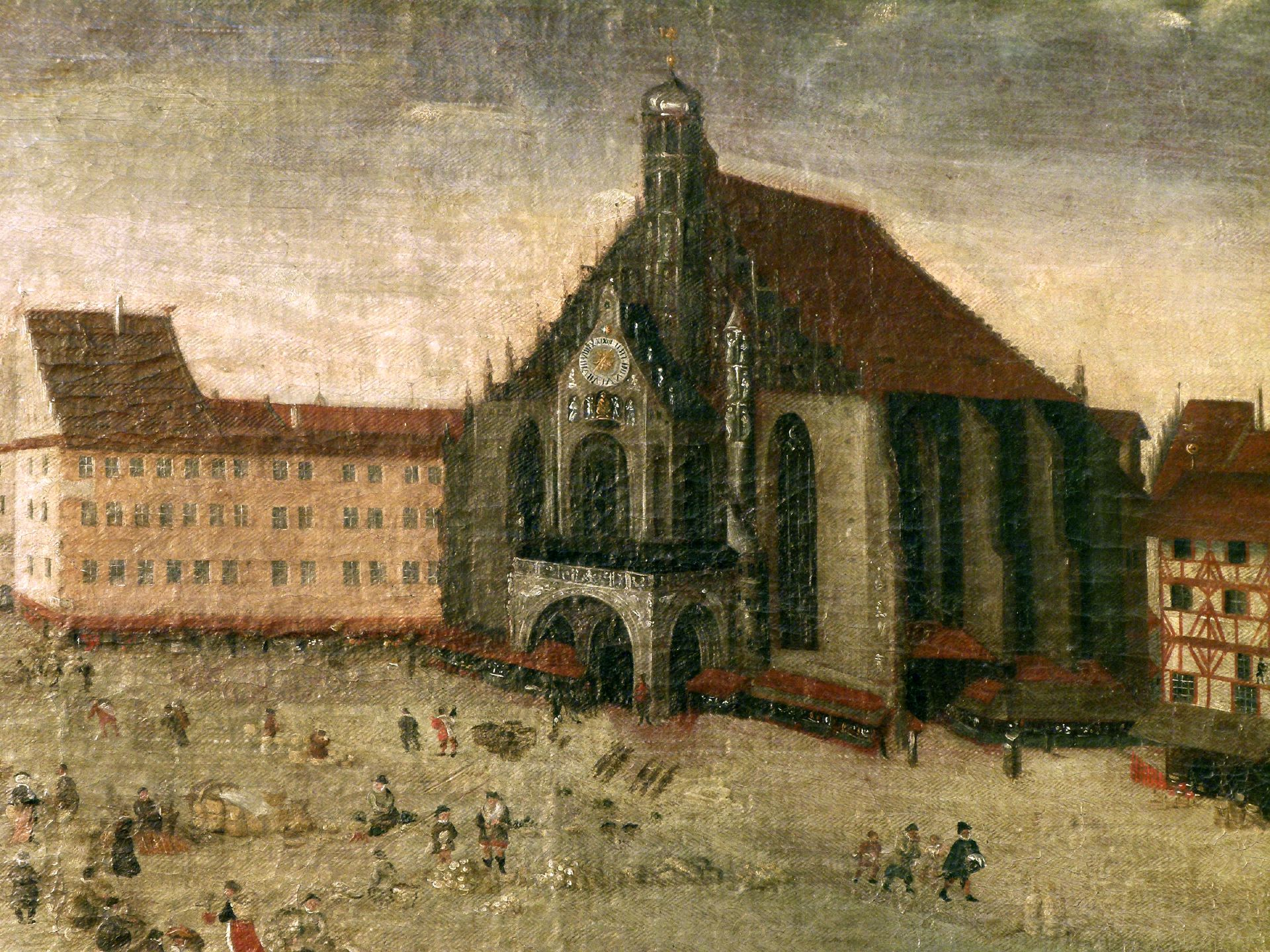 The Nuremberg Main Market (Hauptmarkt) Stromer premises and Our Lady´s Church