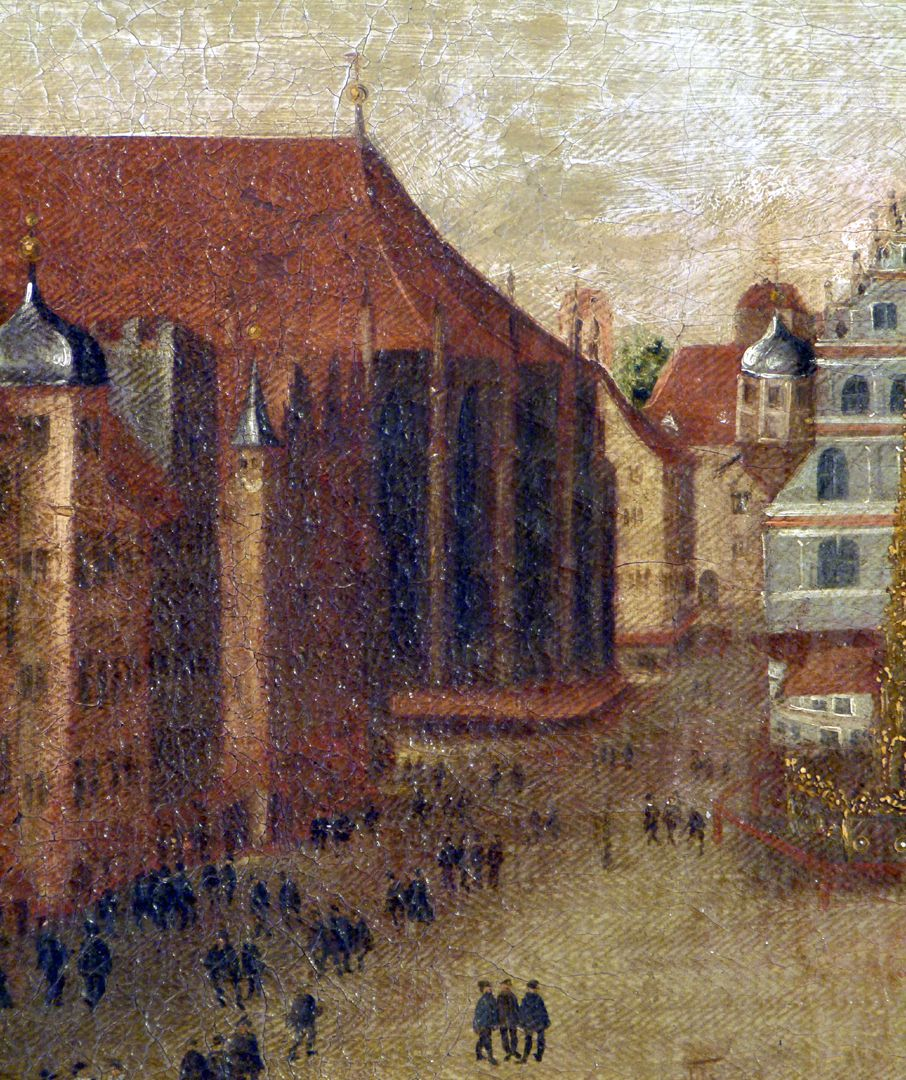 The Nuremberg Main Market (Hauptmarkt) Detail with choir of St. Sebaldus Church