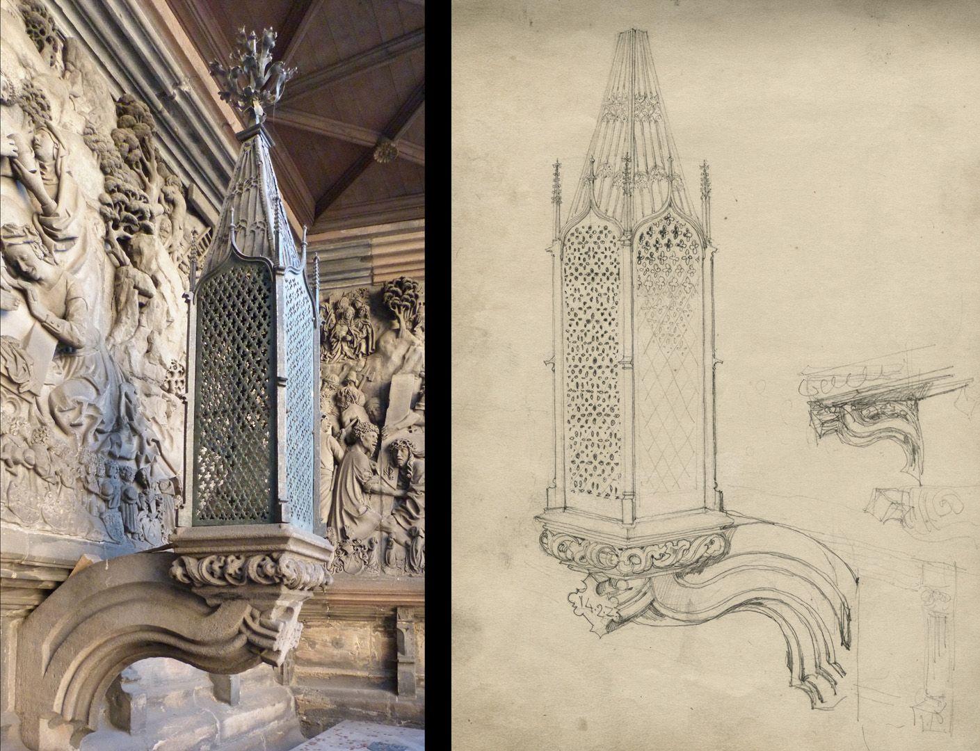 Sketchbook with views of Streitberg and Neideck / incl. Hallerweiherhaus in Nuremberg Death lamp of the Schreyer-Landauer epitaph at the Sebaldus church, photo comparison