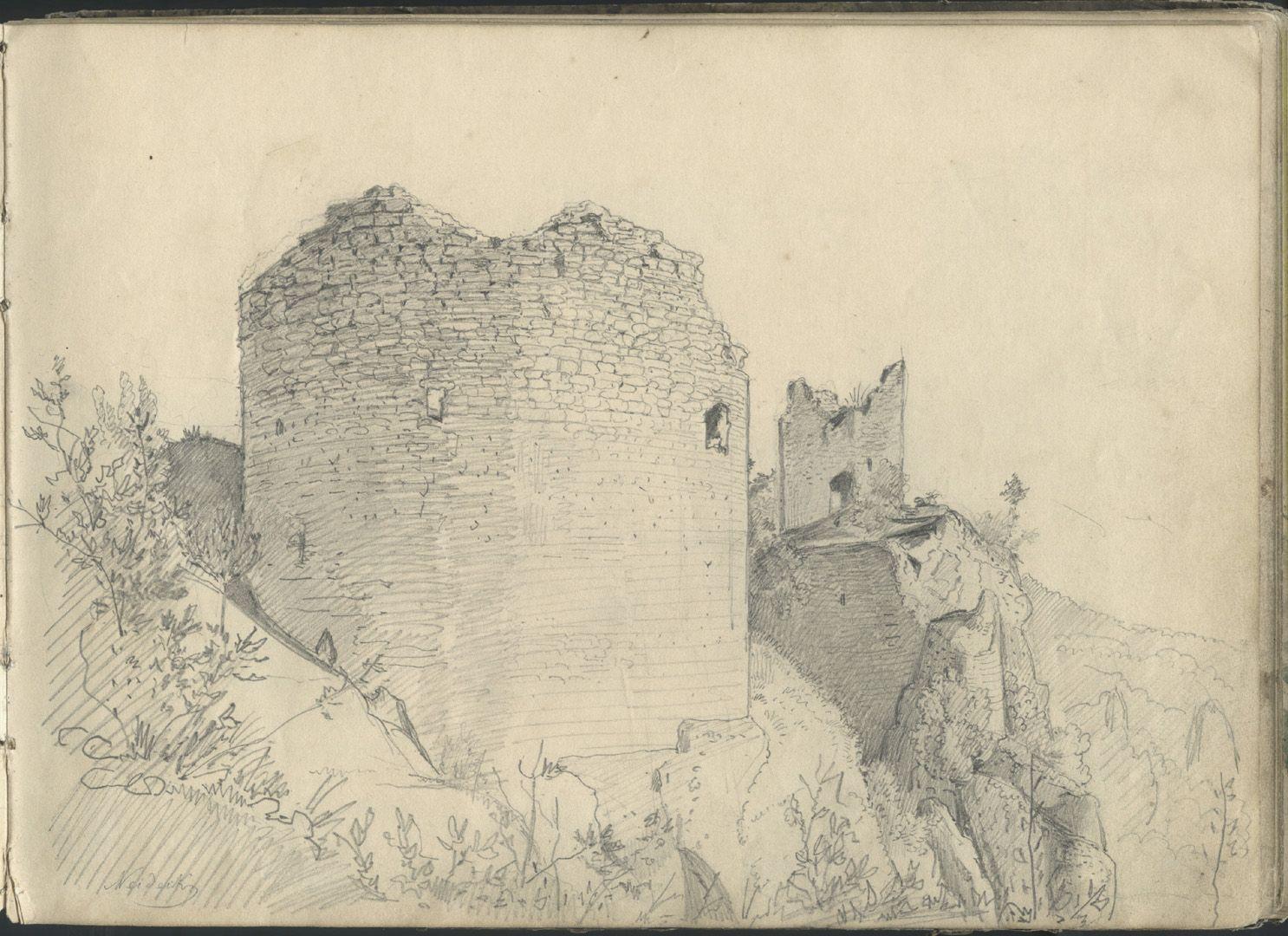 Sketchbook with views of Streitberg and Neideck / incl. Hallerweiherhaus in Nuremberg Neideck, castle ruin