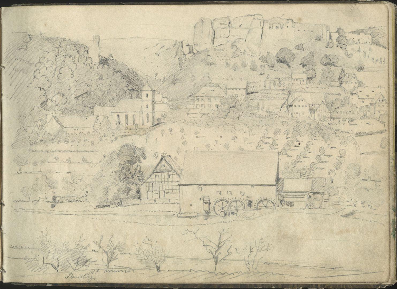 Sketchbook with views of Streitberg and Neideck / incl. Hallerweiherhaus in Nuremberg Village Streitberg and above the castle ruin Streitburg
