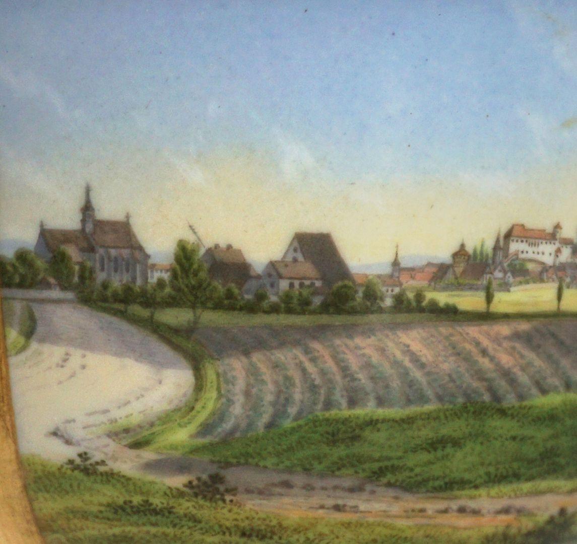 Tasse mit Nürnberg-Ansicht von Südwesten (links, im Westen, die Kirche St. Leonhard) Detailansicht mit St. Leonhard