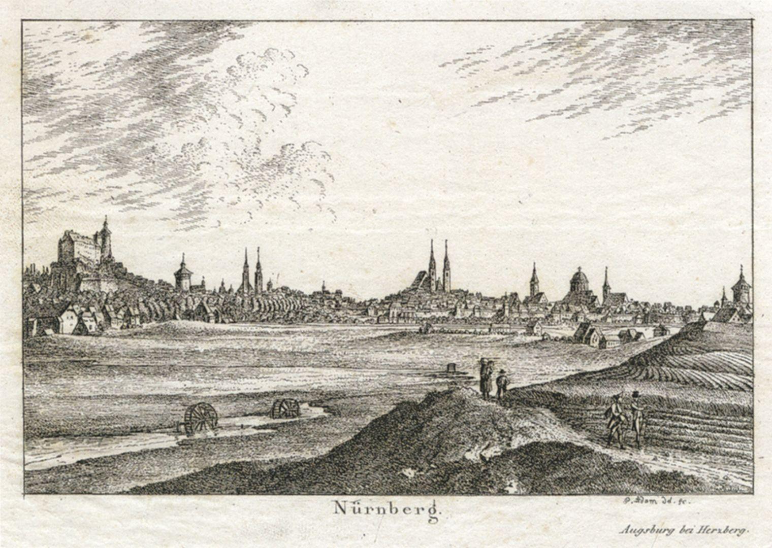 Tasse mit Nürnberg-Ansicht von Südwesten (Blick von der Deutschherrenwiese) Vorlage von Georg Adam (1785–1823): Nürnberg-Ansicht von Südwesten (Blick von der Deutschherrenwiese), Radierung um 1820.
