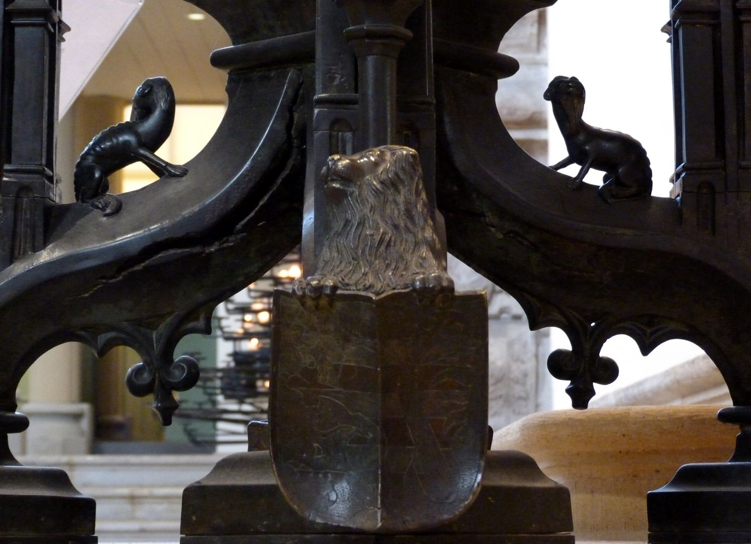 Baptismal font Lion at the pillar basis with Thuringian coat of arms