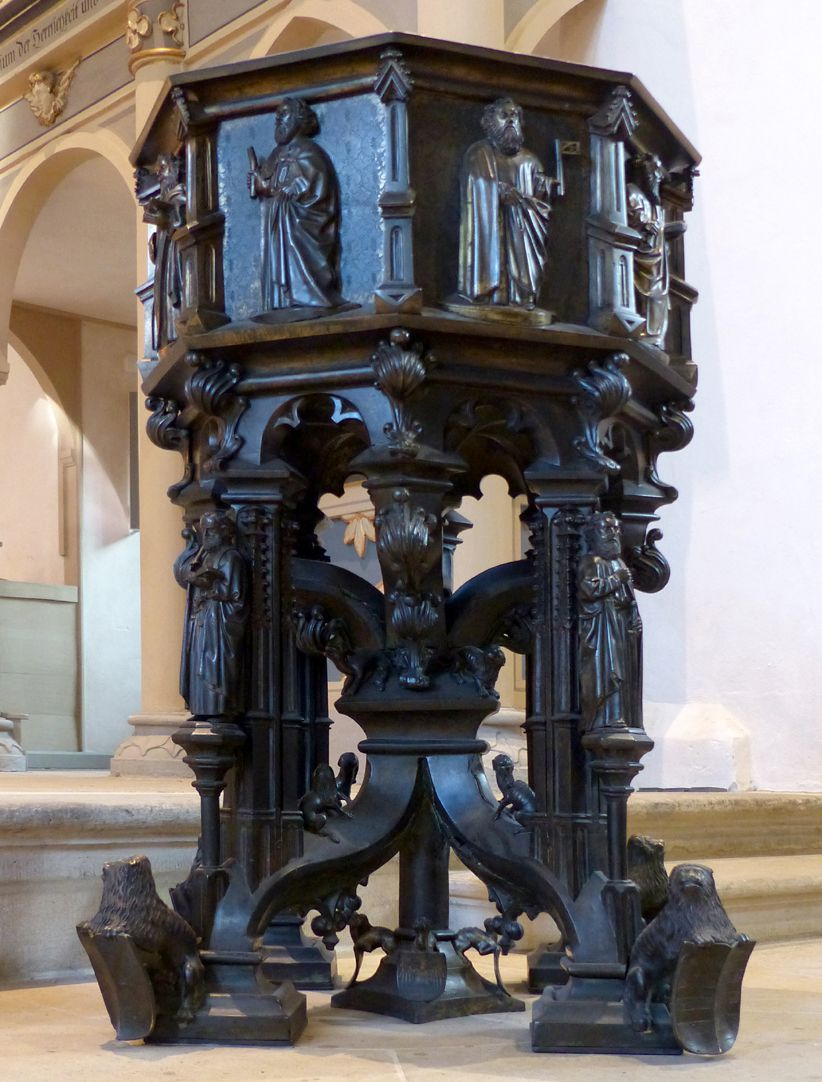 Baptismal font Total view from the northwest