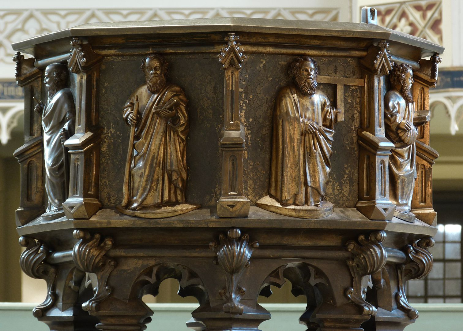 Baptismal font Baptismal font with apostles from the east