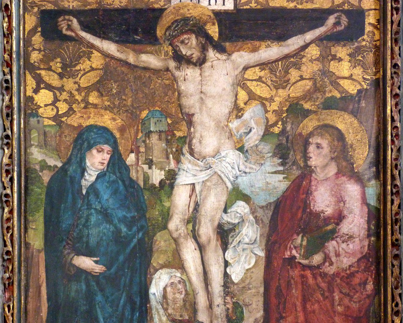 Epitaph der Obernitz Kreuzigung mit Maria, Johannes und Maria Magdalena, Detailansicht