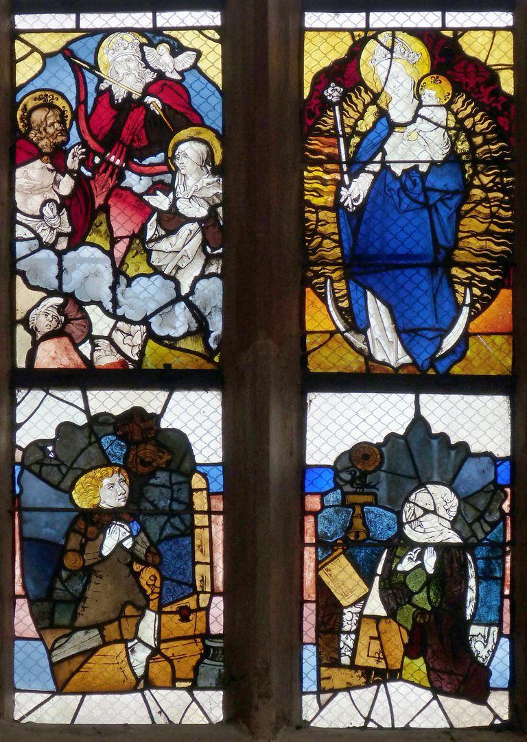 Chorfenster in der Tetzelkapelle Chorfenster I, erste und zweite Fensterzeile, Zusammengefügte Fragmente