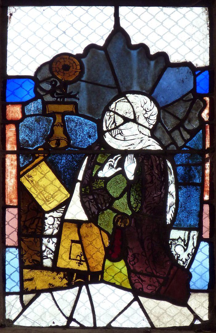 Chorfenster in der Tetzelkapelle Fenster 1 b, Maria vor dem Pult (aus einer Verkündigung)