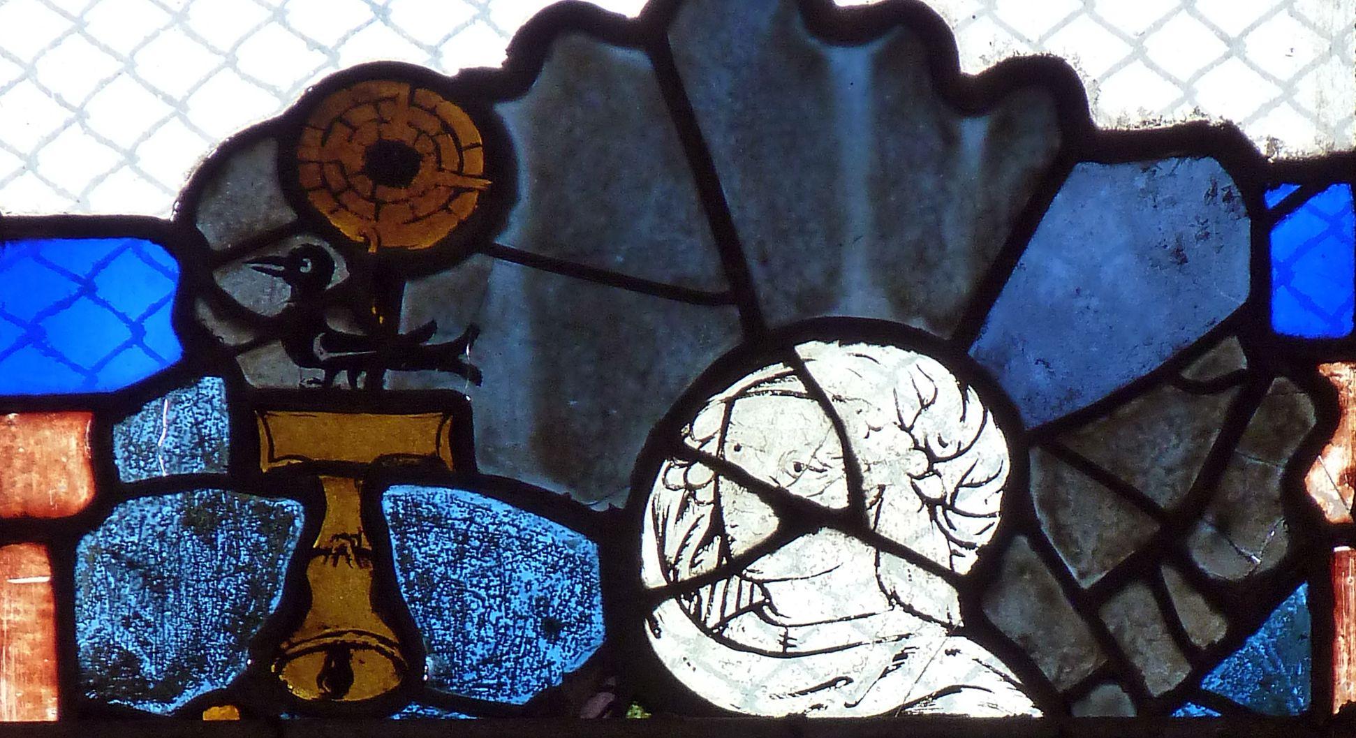 Chorfenster in der Tetzelkapelle Fenster 1 b, Maria vor dem Pult (aus einer Verkündigung), Detail