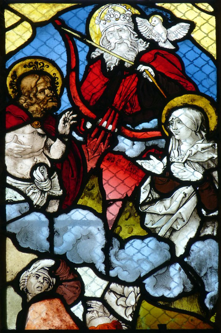 """Chorfenster in der Tetzelkapelle Fenster 2 a, """"Rechtfertigungsbild"""", Maria als Fürbitterin der Menschheit und Christus mäßigt Gottes Zorn"""