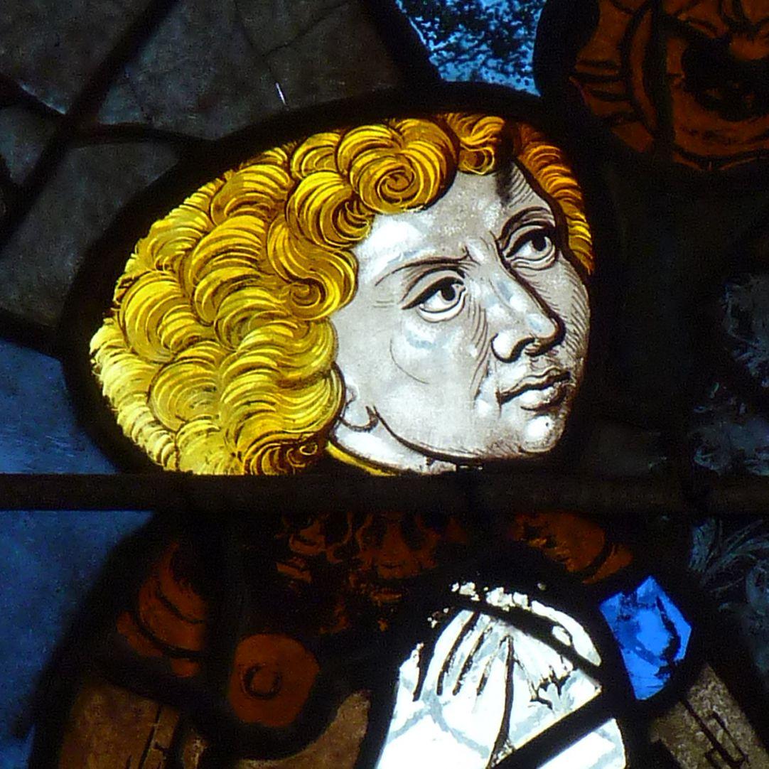 Chorfenster in der Tetzelkapelle Fenster 1 a, Stifterfigur, Detail