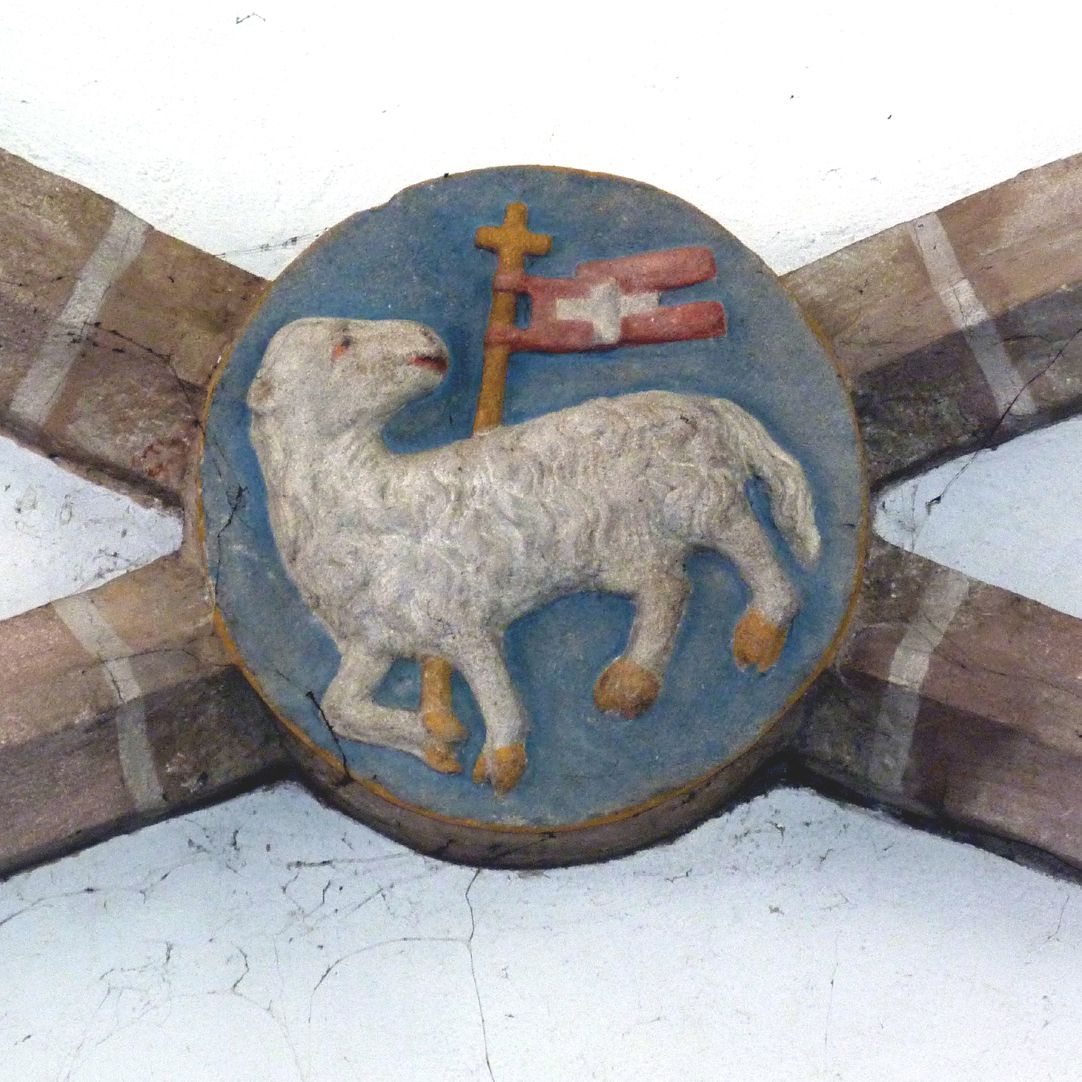 Tetzelkapelle westlicher Schlussstein mit dem Lamm Gottes