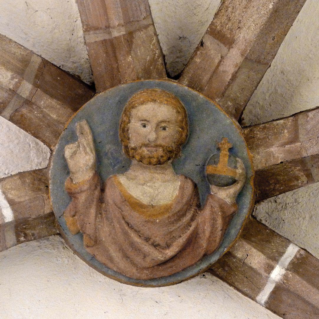 Tetzelkapelle Chorschlussstein mit dem segnenden Salvator