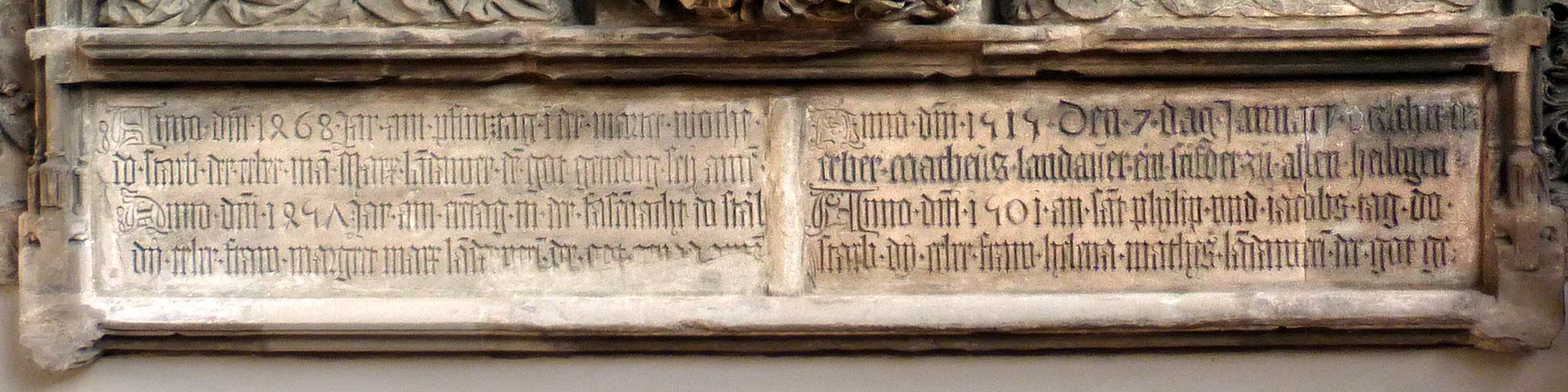 Landauer epitaph Inscription tablet: on the left: Marx and Margareta, on the right Matthäus and Helena