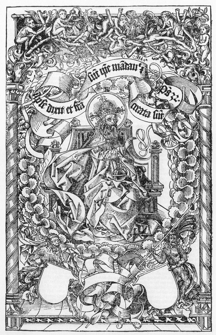 """Titelbild der Schedelschen Weltchronik Titelbild der Schedelschen Weltchronik, 1493. Holzschnitt,Vorbild ist das 1485 in Mainz erschienene Titelbild von Erhard Reuwich  (bei Breydenbach´s """"Peregrinatio in terram sanctam"""")"""