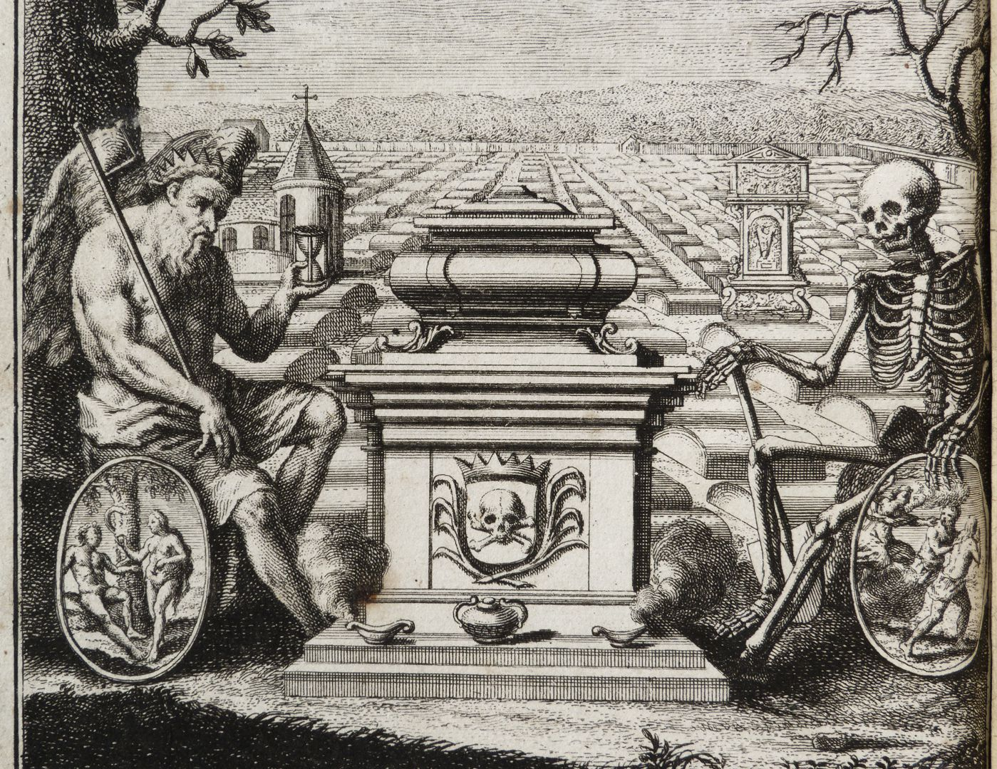 """""""God´s word of life makes Christans even unafraid of death"""" Chronos (with the Fall of Man) and Death (with the Expulsion from Paradise) are sitting in front of Johannis-cemetery flanking an urn"""