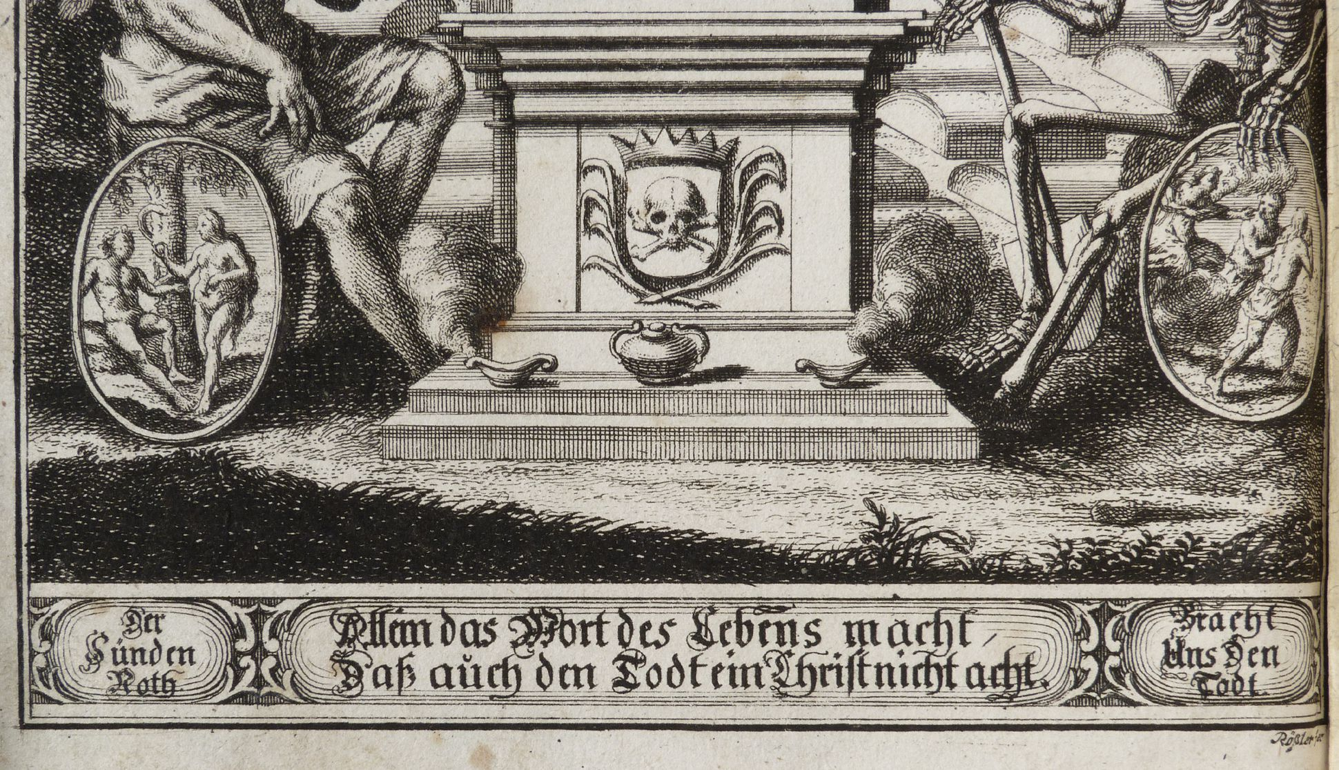 """""""God´s word of life makes Christans even unafraid of death"""" Urn pedestal with death as king and adage below"""