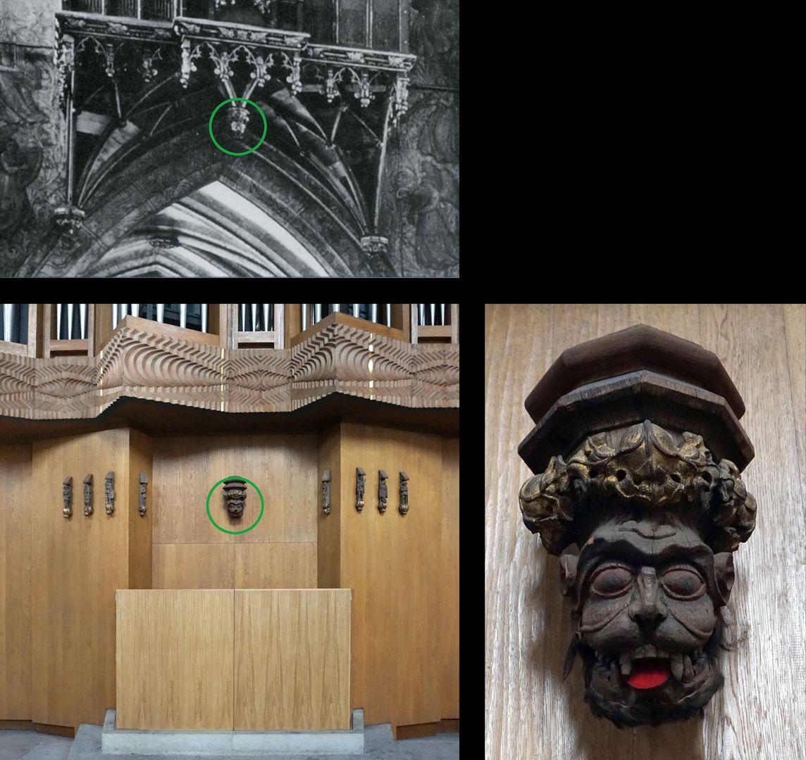 """Traxdorfer Orgel Der """"Roraffe"""", Foto links oben historische Position an der alten Orgel, Foto links unten Position an der neuen Orgel"""