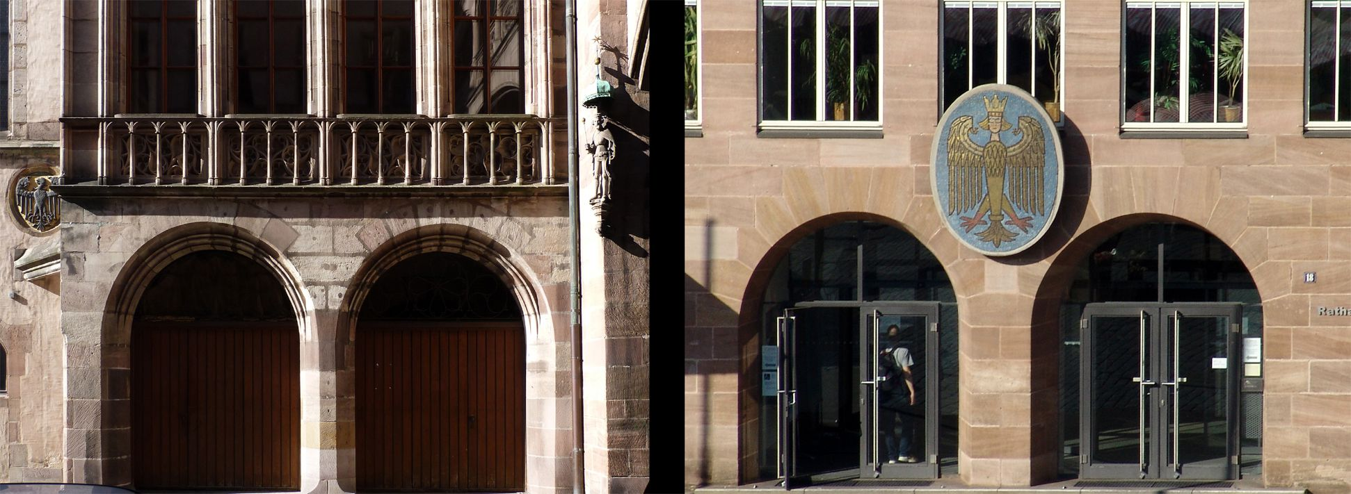 Twin portals of Council Chamber and New City Hall Comparison
