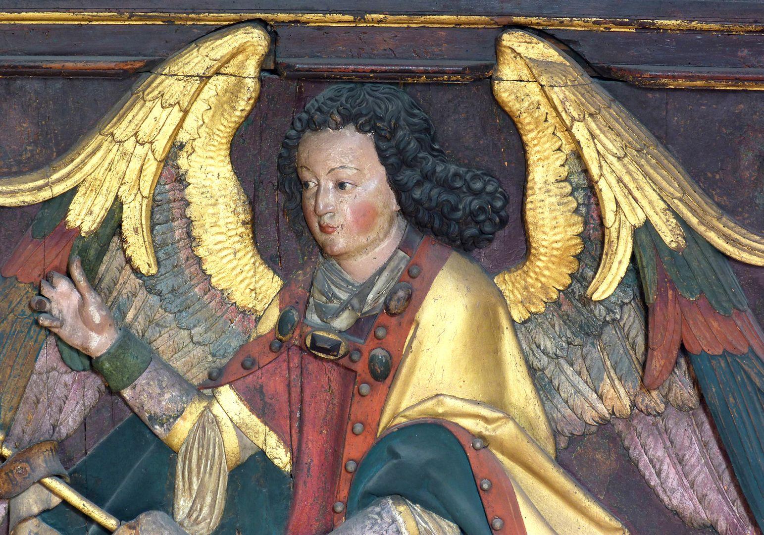 Reliefs einer Verkündigung Mariens Gabriel, obere Hälfte