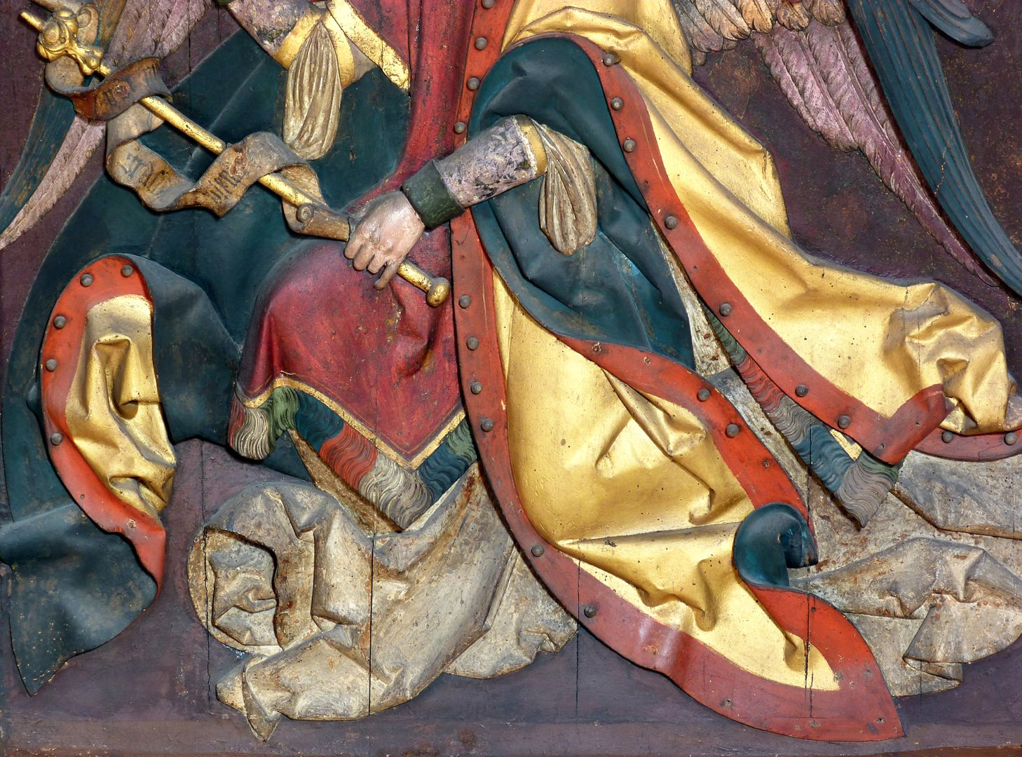 Reliefs einer Verkündigung Mariens Gabriel, untere Hälfte