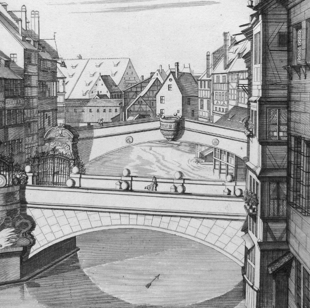 """The A.C.1700 to his Imperial and Royal Majesty´s…"" New Bridge with Viatis House View to Fleischbrücke"