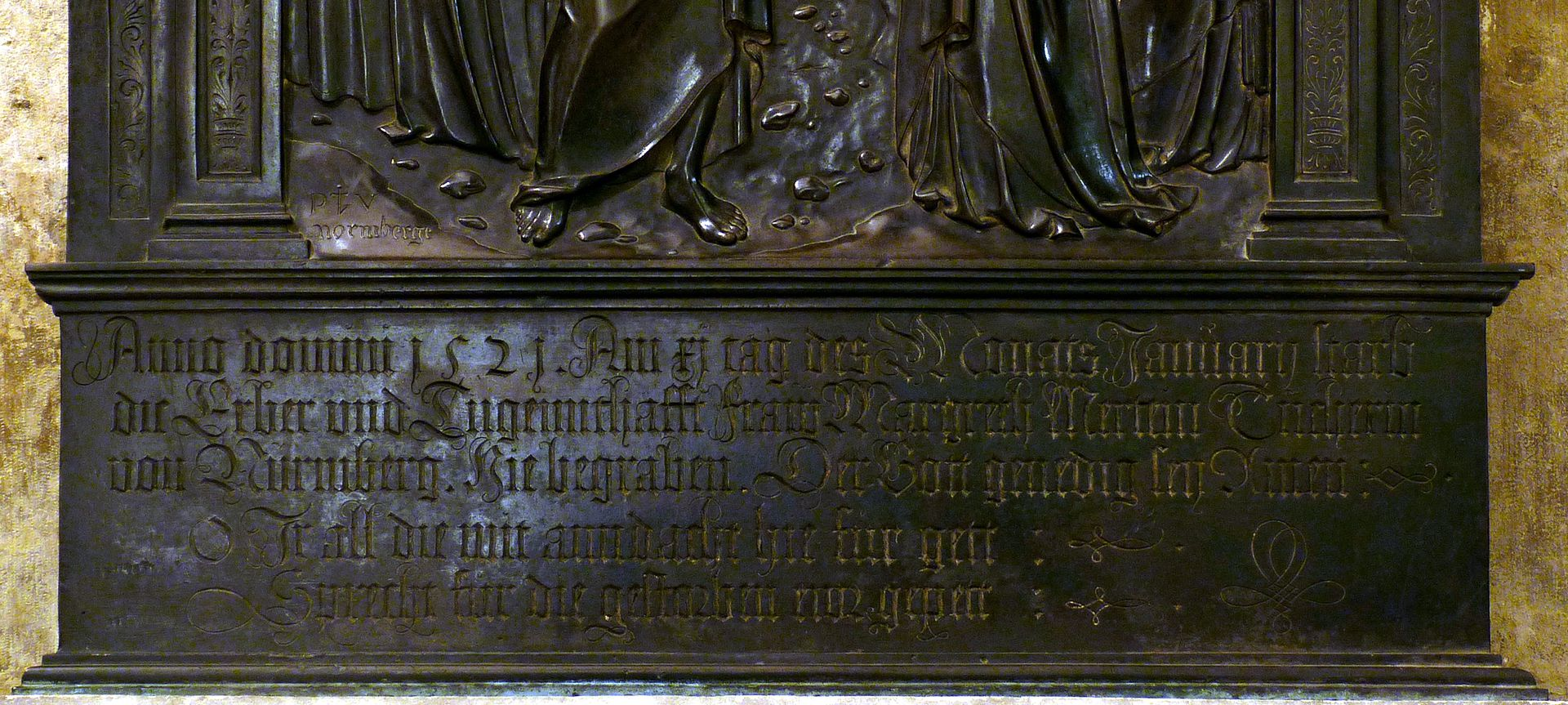 Brass epitaph of Margarete Tucher Inscription
