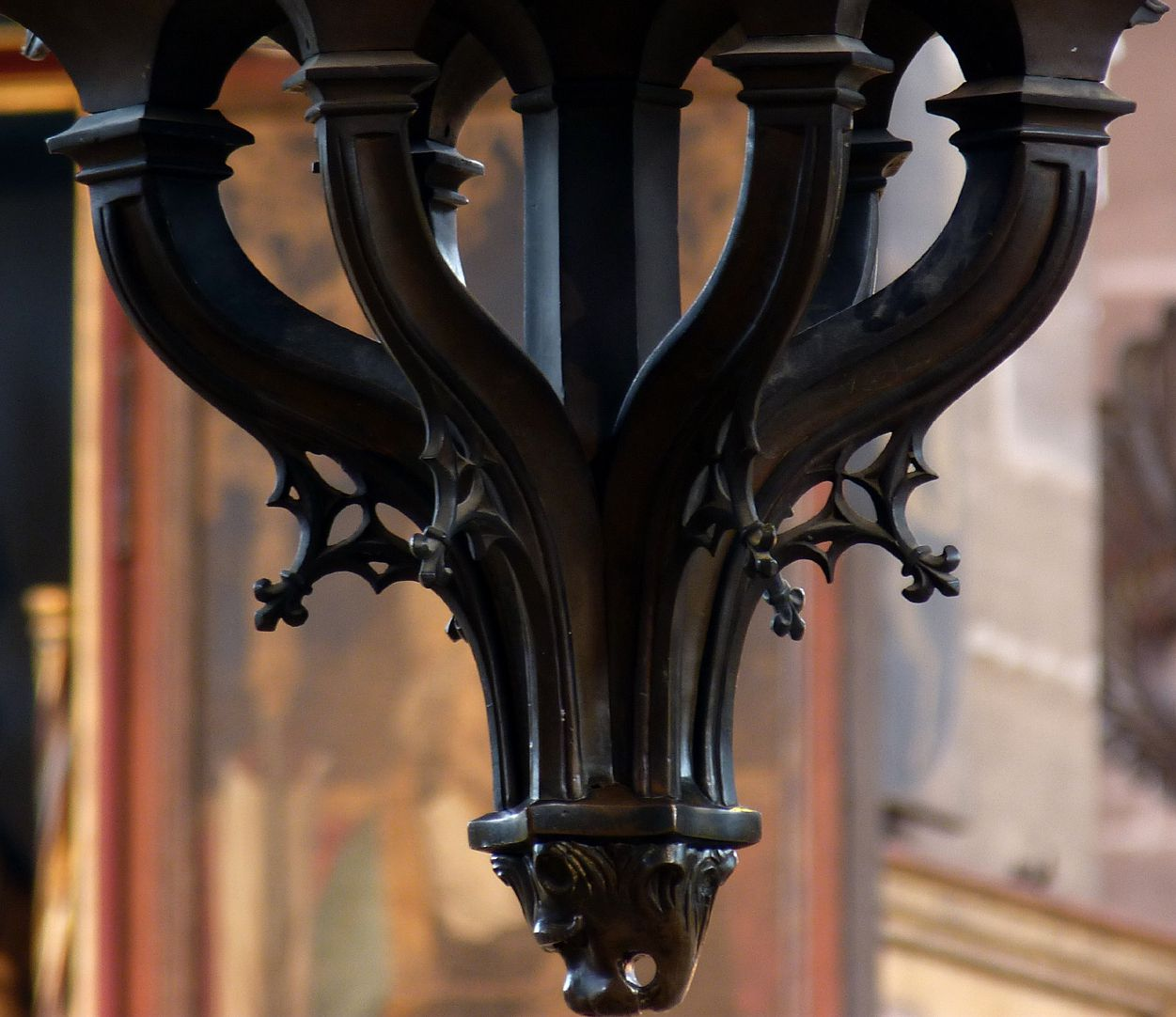 Bronze chandelier Lower cuso with tracery cusps