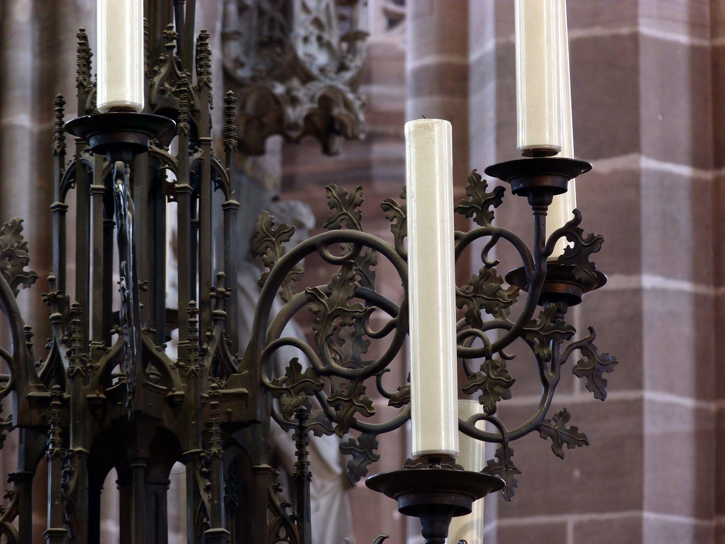 Bronze chandelier Upper part of the chandelier with tendrils