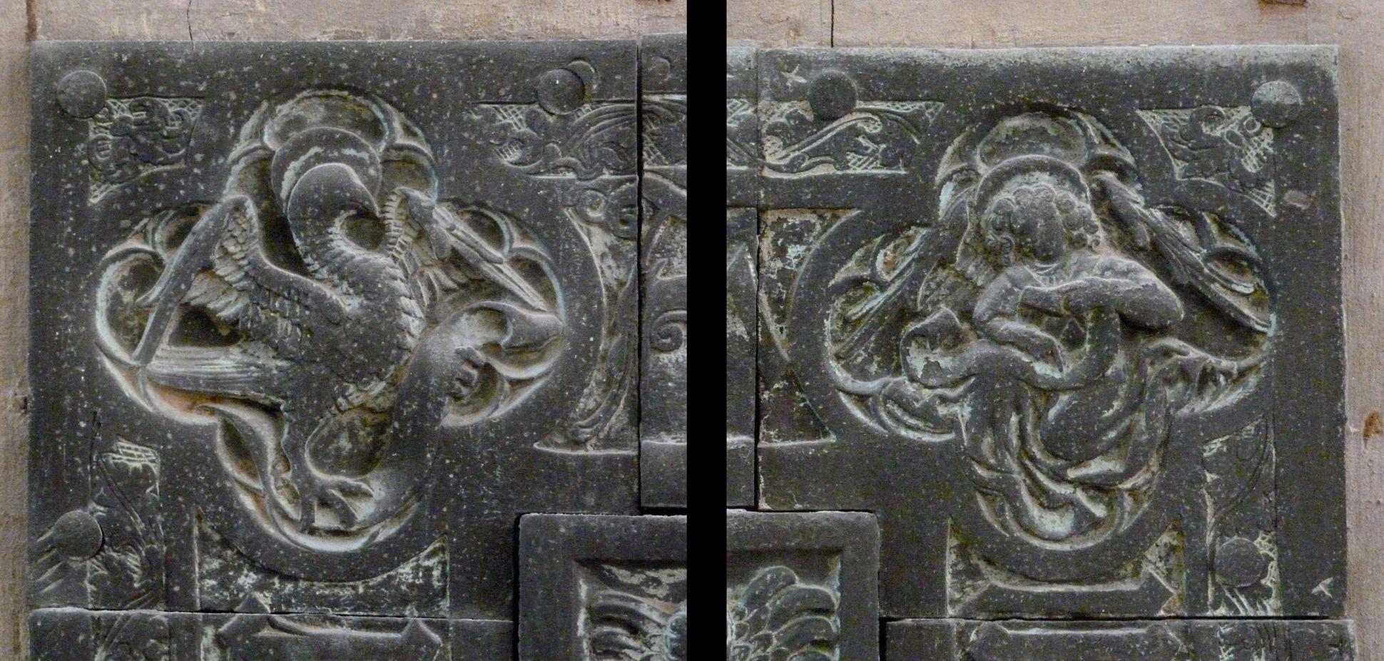 Balthasar von Neuenstadt Evangelistensymbole der oberen Ecken: Adler für Johannes und Mensch für Matthäus