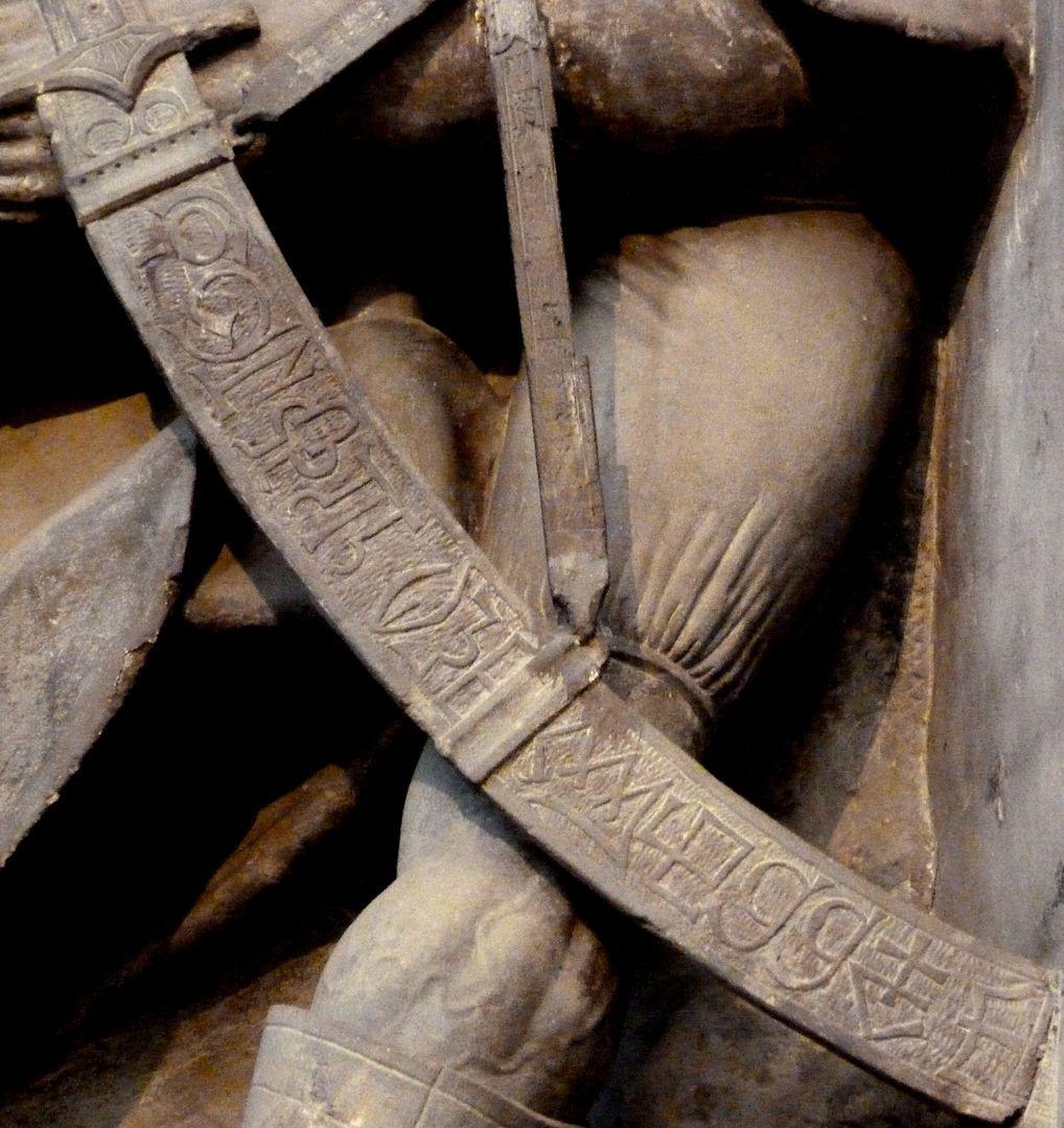 Volckamer Memorial Foundation, relief plates Gefangennahme, Detail: Säbel mit Datum und Meisterzeichen von Veit Stoß