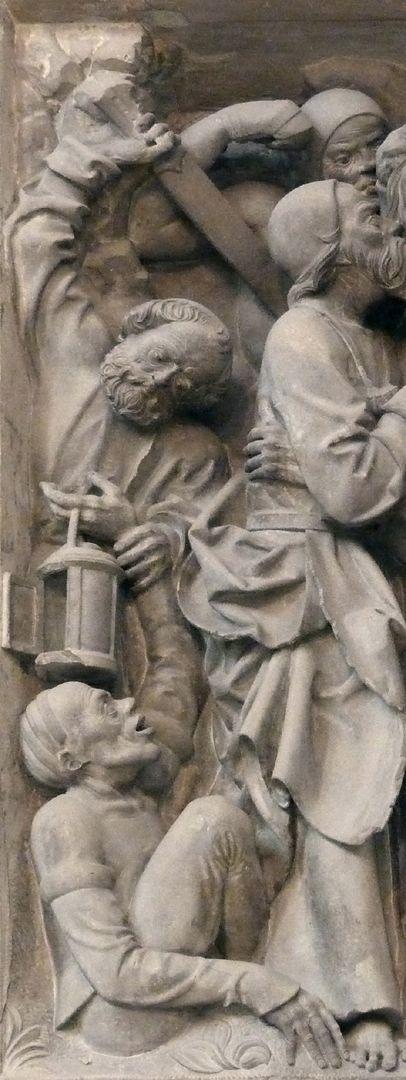 Volckamer Memorial Foundation, relief plates Gefangennahme, Detail: Petrus schneidet Malchus, dem Knecht des Hohenpriesters das rechte Ohr ab