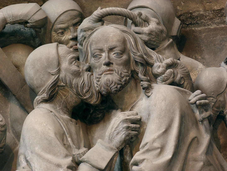 Volckamer Memorial Foundation, relief plates Gefangennahme, Detail: Judaskuss