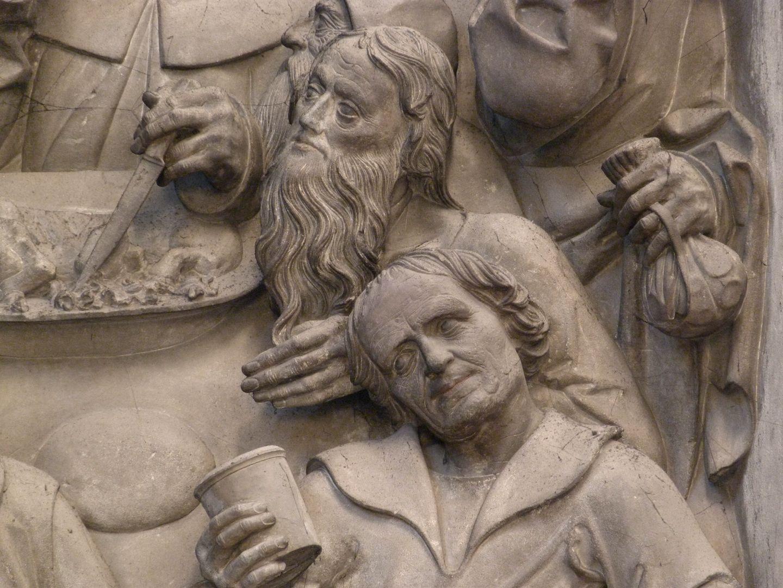 Volckamer Memorial Foundation, relief plates Letztes Abendmahl, rechts Geldbeutel des Judas mit den durchscheinenden Silberlingen