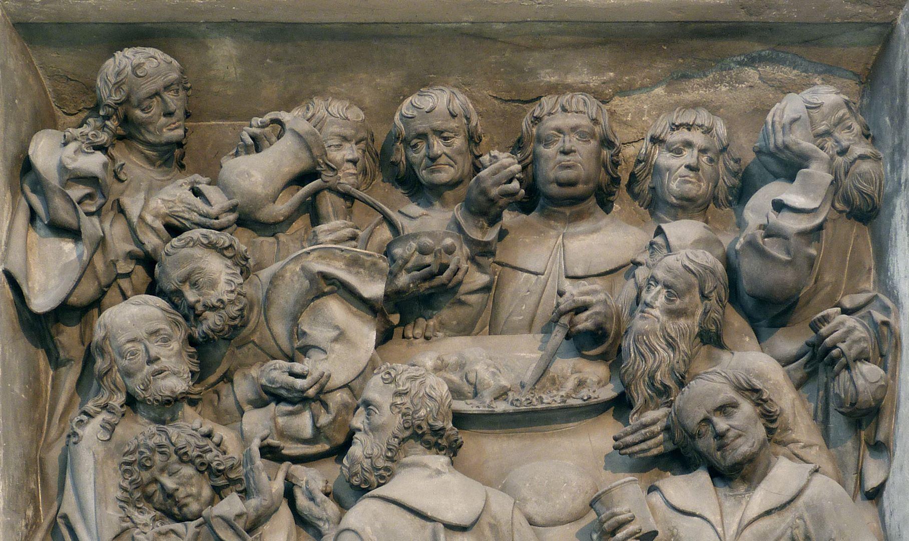Volckamer Memorial Foundation, relief plates Letztes Abendmahl, obere Hälfte der Darstellung