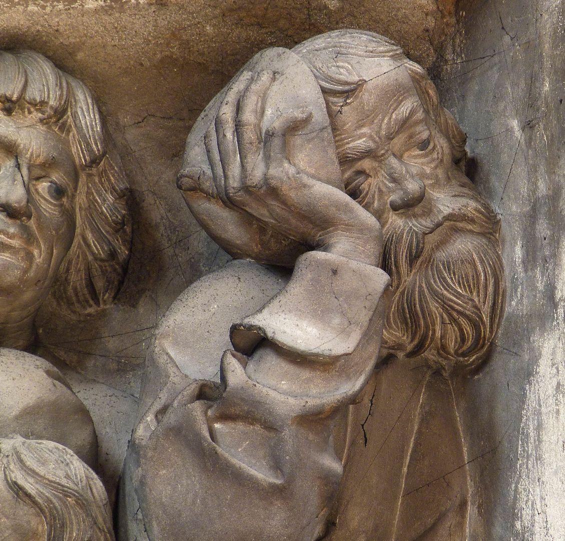 Volckamer Memorial Foundation, relief plates Letztes Abendmahl, Judas, Detail