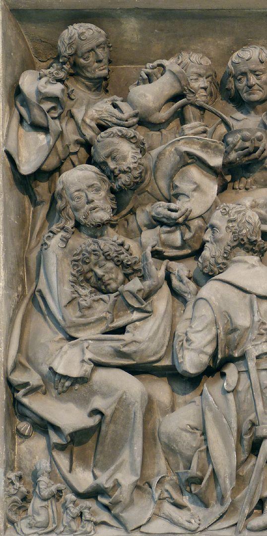 Volckamer Memorial Foundation, relief plates Letztes Abendmahl, linke Hälfte der Darstellung, unten links Männerseite der Stifterfamilie
