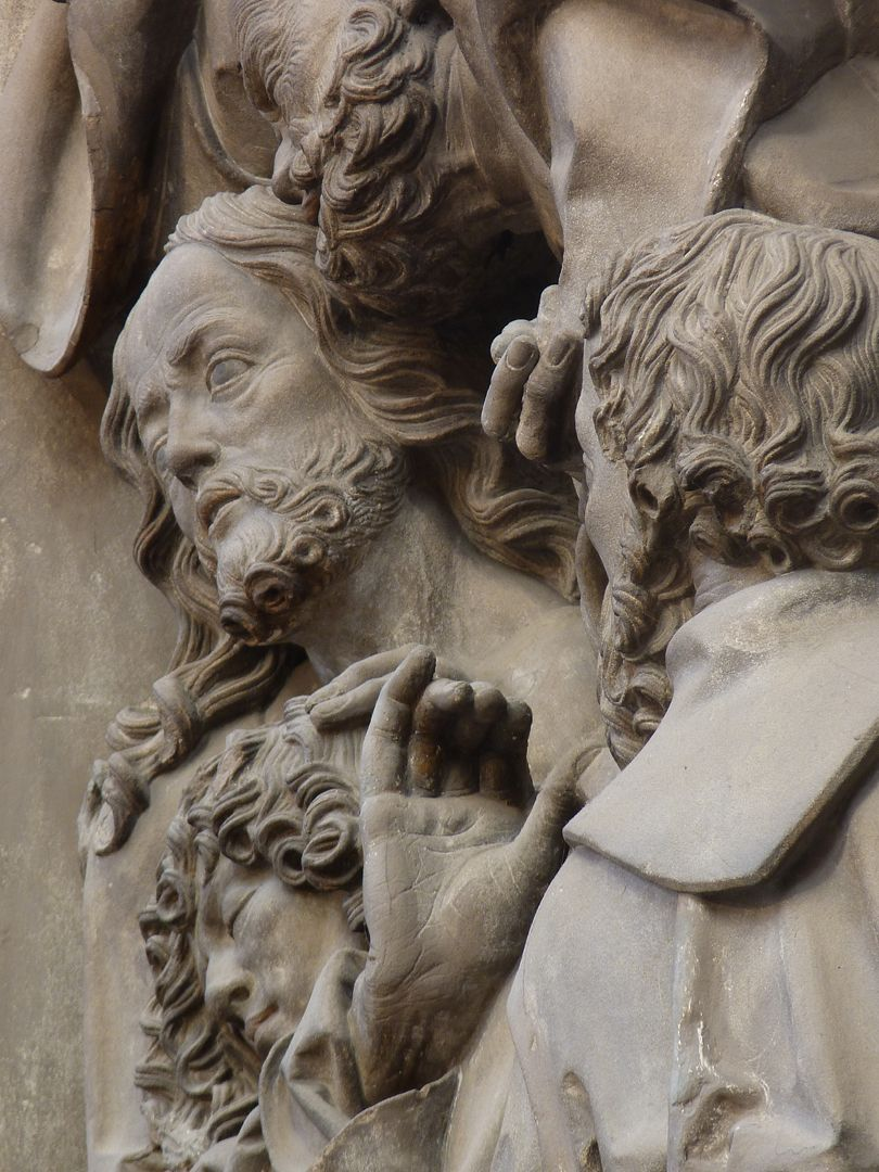 Volckamer Memorial Foundation, relief plates Last Supper, heads of Judas, John, Jesus and Peter