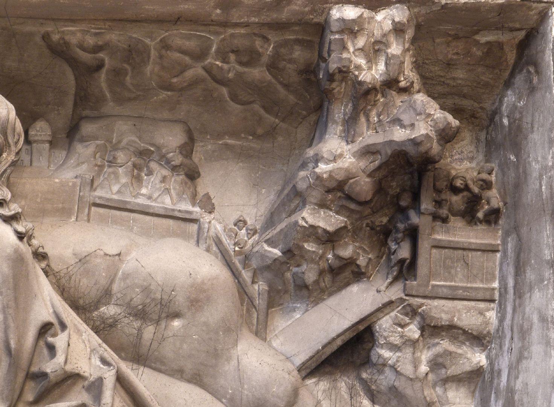 Volckamer Memorial Foundation, relief plates Ölberggebet, rechte obere Ecke: Judas führt die Soldaten in den Garten