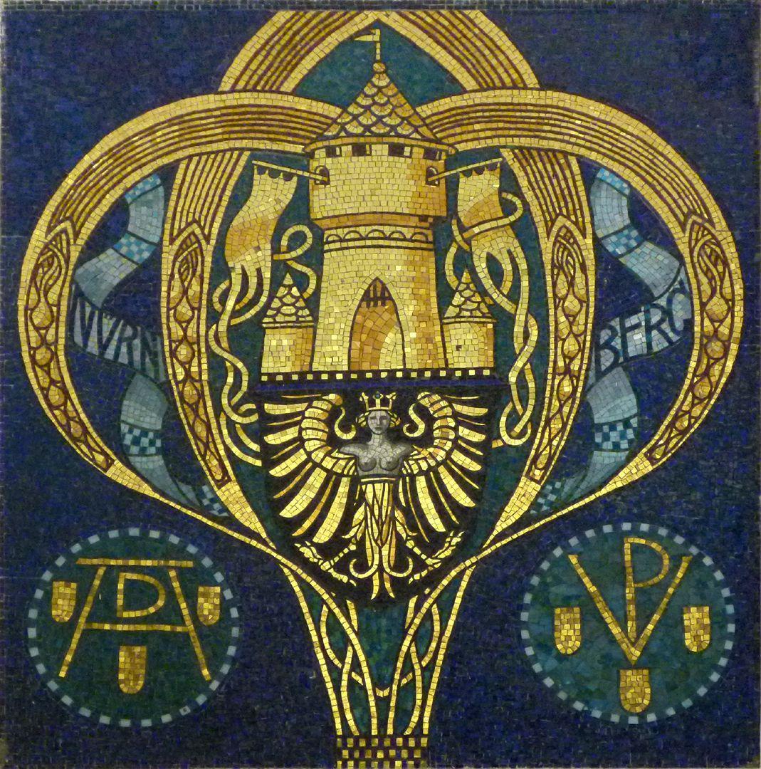 Former Bavarian Trade and Business Institute (Landesgewerbeanstalt) Jugendstil mosaic with Nurembeg symbols