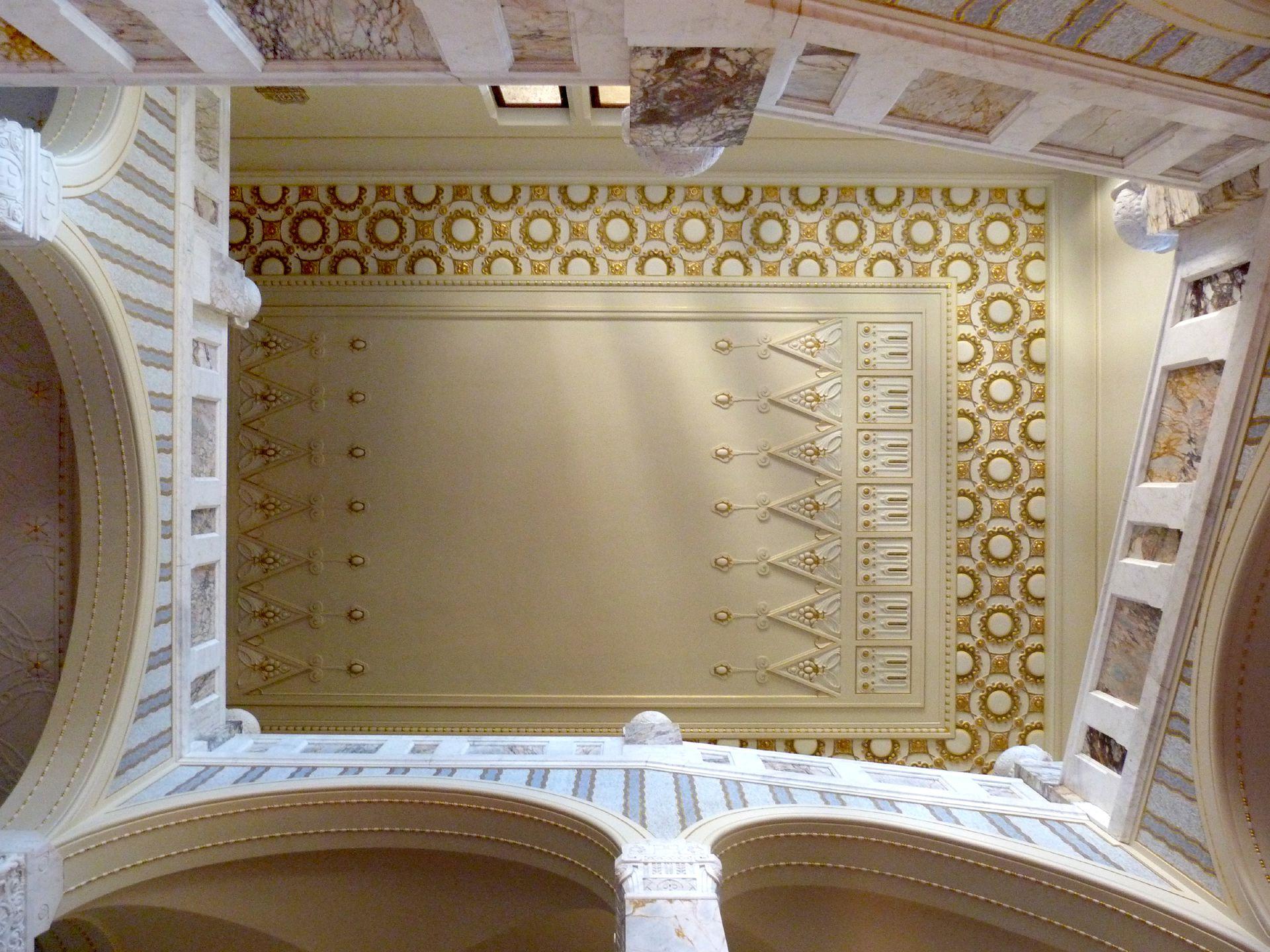 Castle Faber-Castell Jugendstil stair well, view upwards