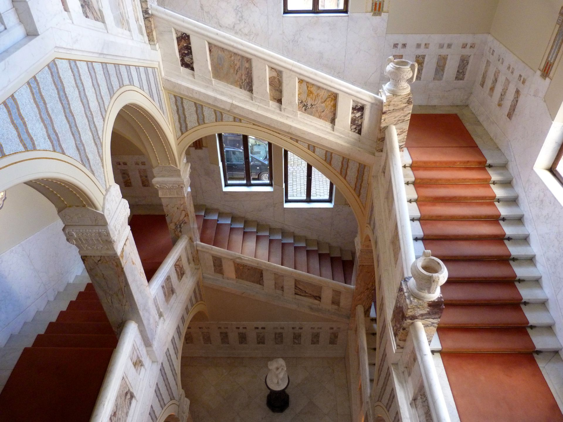 Castle Faber-Castell Jugendstil stair well, view downwards